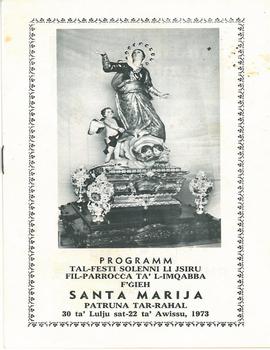 Programm tal-Festa Titulari Santa Marija Mqabba – 1973