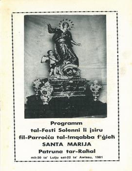 Programm tal-Festa Titulari Santa Marija Mqabba – 1981